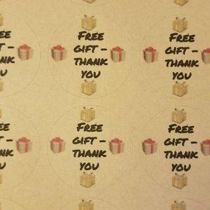 """120 labels 1.5"""" Round Kraft Matte Free Gift ThankU"""